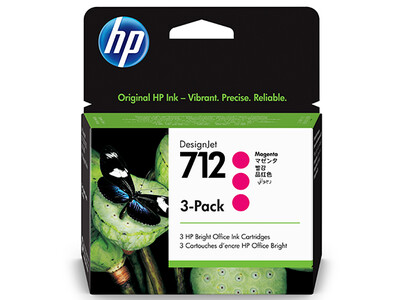 HP No. 712 3-PACK 29ml Magenta DesignJet Ink Cartridges for T200 and T600 Series (3ED78A)