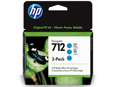 HP No. 712 3-PACK 29ml Cyan DesignJet Ink Cartridges for T200 and T600 Series (3ED77A)