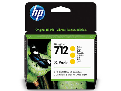 HP No. 712 3-PACK 29ml Yellow DesignJet Ink Cartridges for T200 and T600 Series (3ED79A)