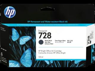 HP 728 Matte Black DesignJet Ink Cartridge 130ml for T730/T830 (3WX25A)