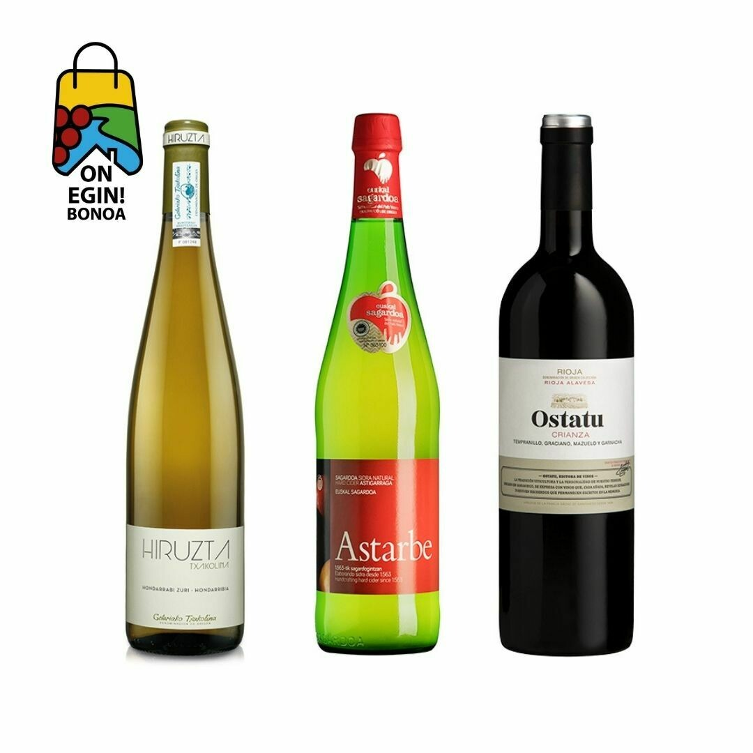 Pack sidra, txakoli y vino rioja alavesa