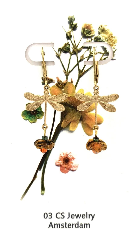 Dragonfly flower earrings