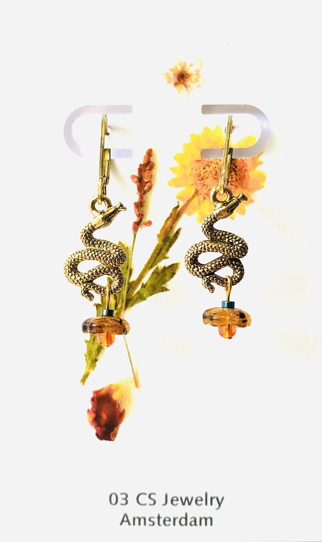 Rattle snake flower earrings