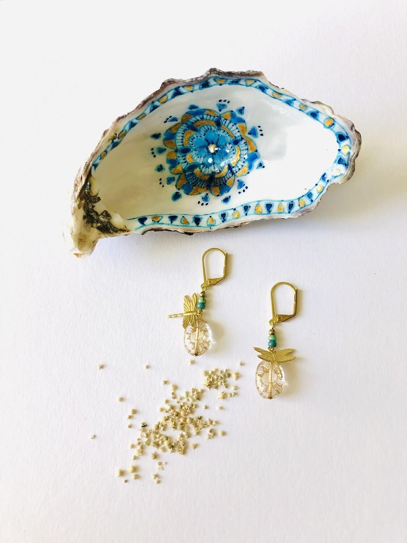 Chrystal flower & dragonfly earrings