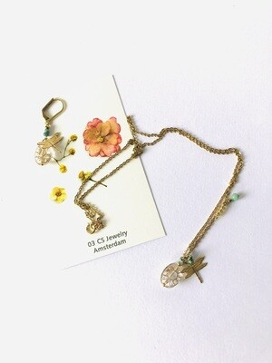 Crystal flower bead & dragonfly necklace