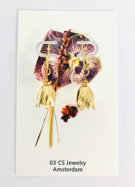 Tulip gold earrings