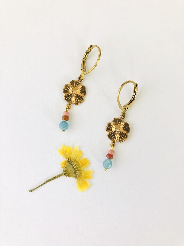 Lucky flower earrings blue mix
