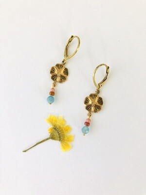 Lucky flower earrings blue mix