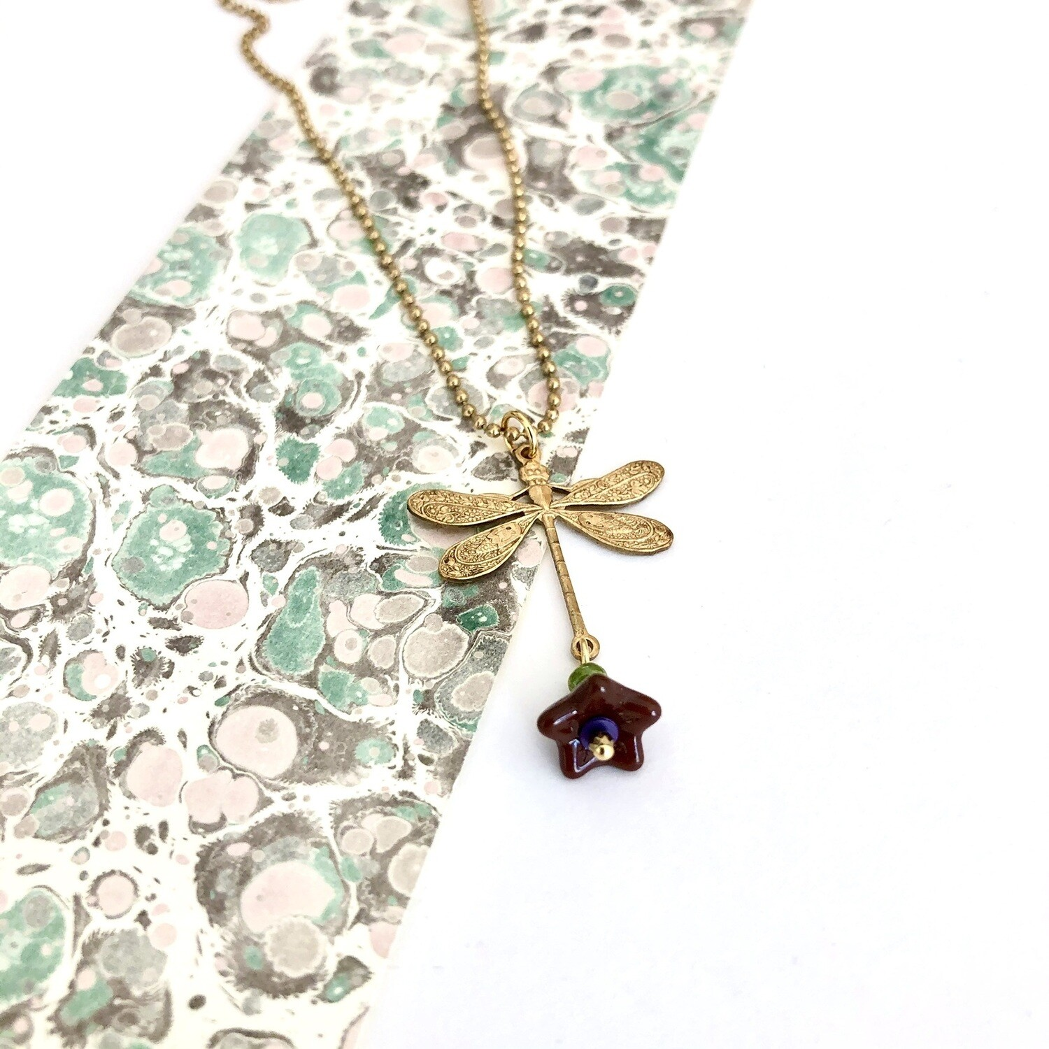 Chocolate flower cup dragonfly ballchain