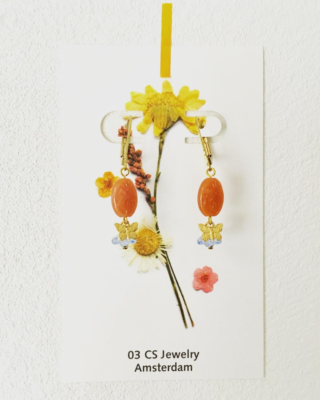 Double flower butterfly earrings