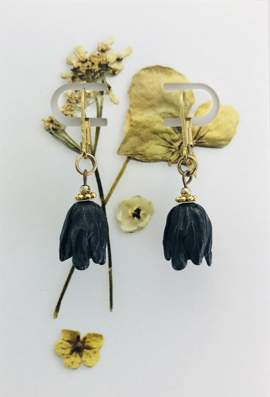 Black tulip earrings