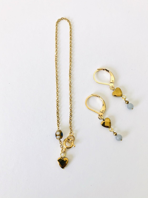 Hematite heart bracelet