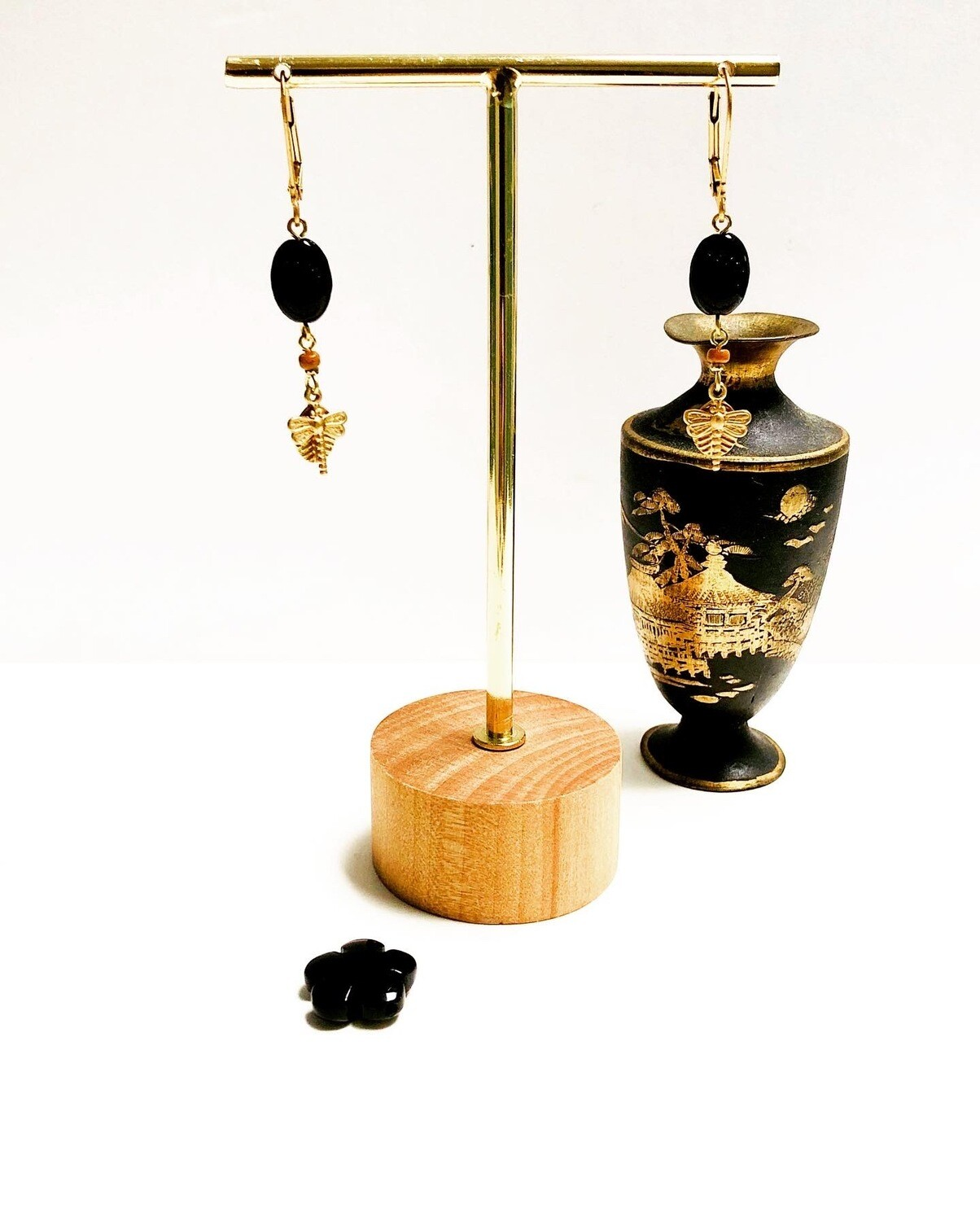 Black flower & dragonfly earrings