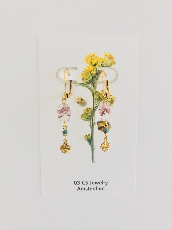 Lavender flower & clover earrings