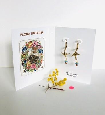 Flora spreader & swallows earrings