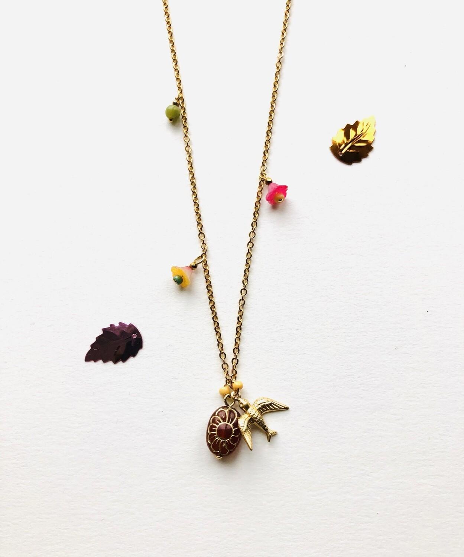 Kahlo bird flower cup necklace
