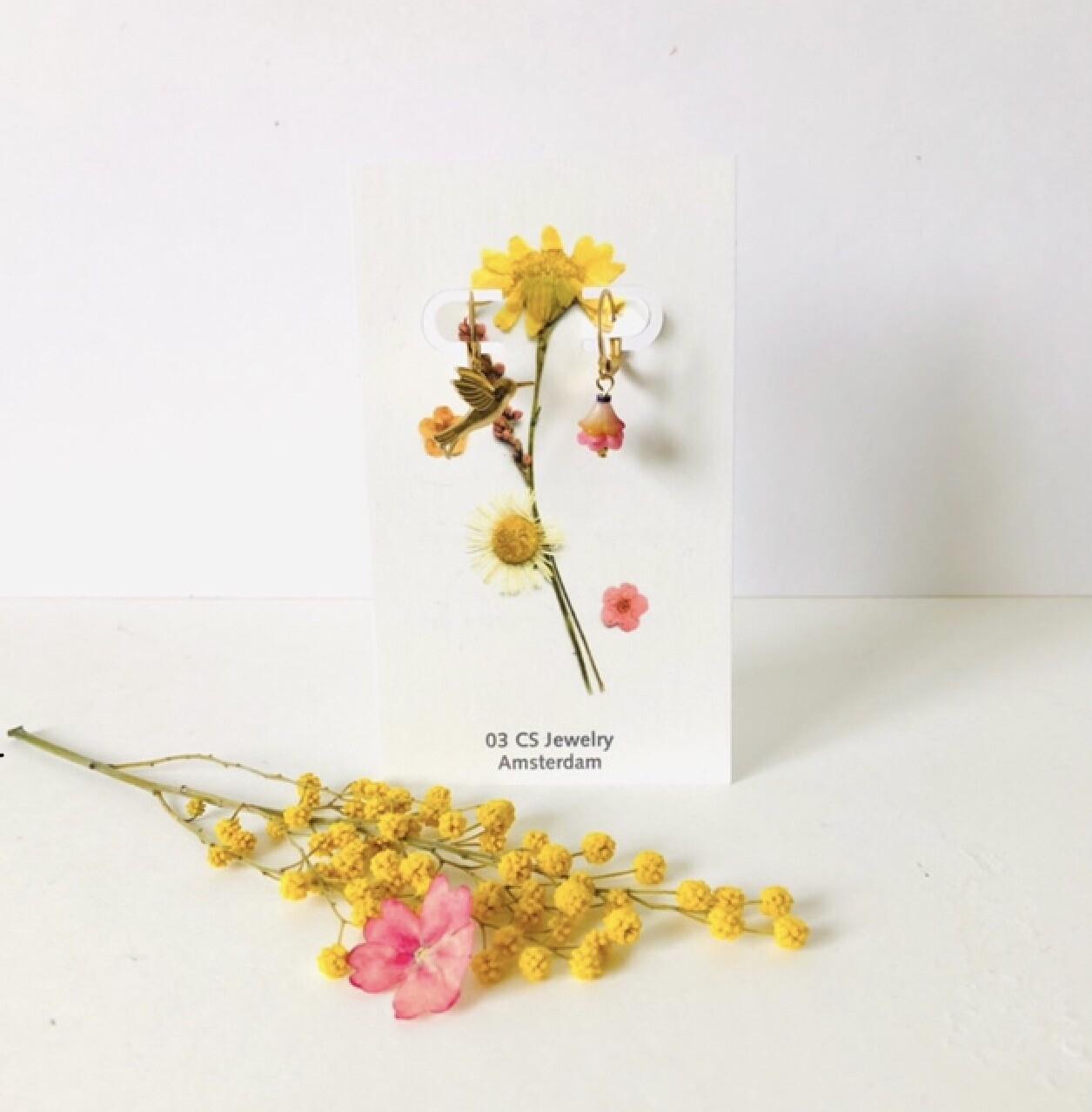 Hummingbird flower cups earrings