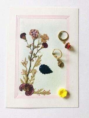 Ladybug flower cups earrings
