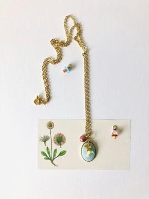 Hummingbird blue cameo necklace