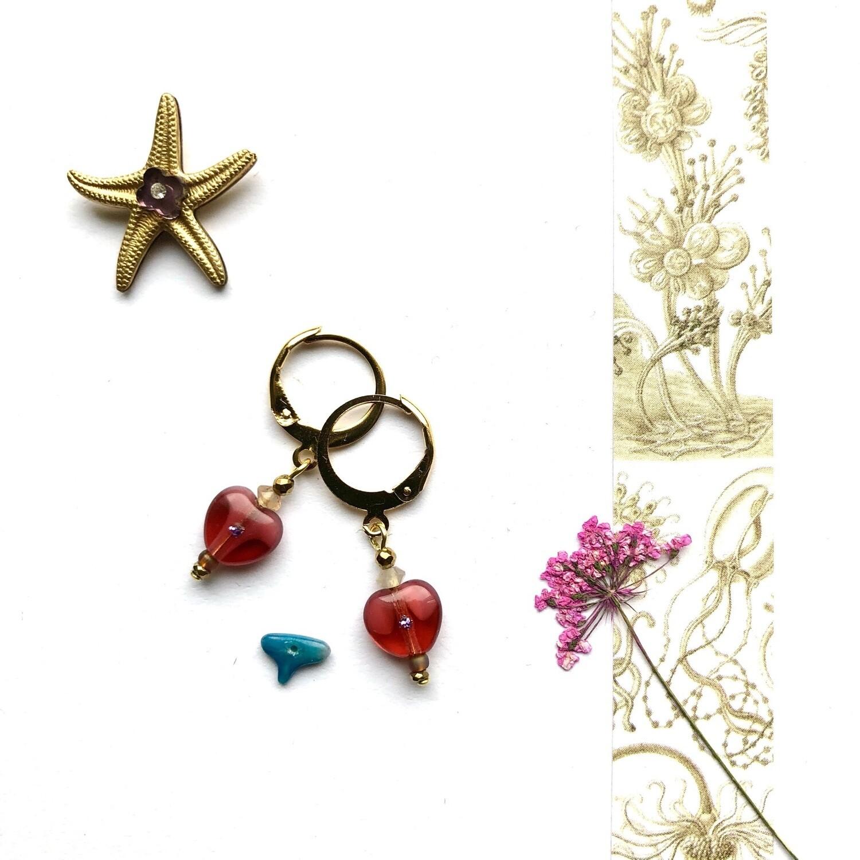 Jellyfish heart earrings