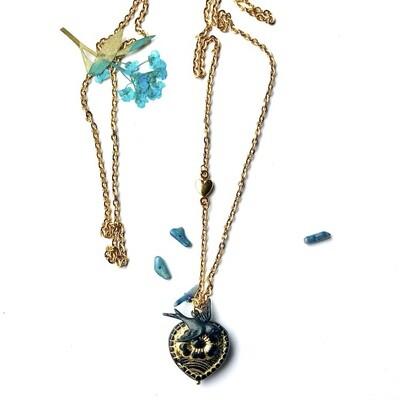 Black anemone heart necklace