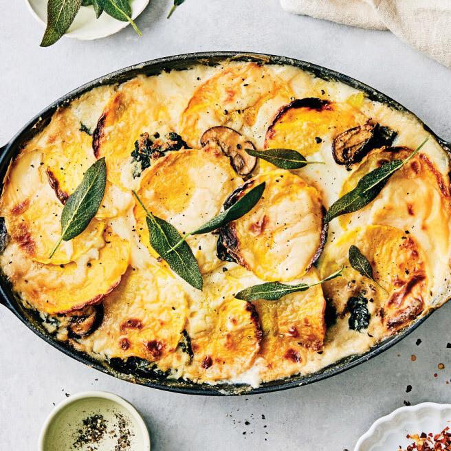 Butternut squash and spinach vegetarian lasagne