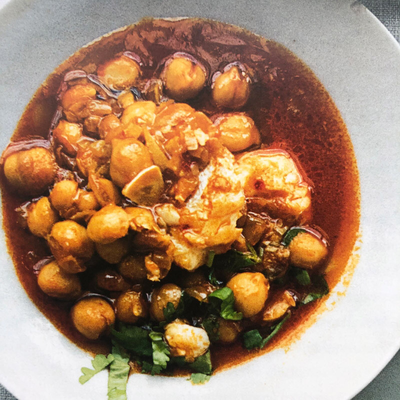 Rose Harissa Chickpeas & Flaked Fish
