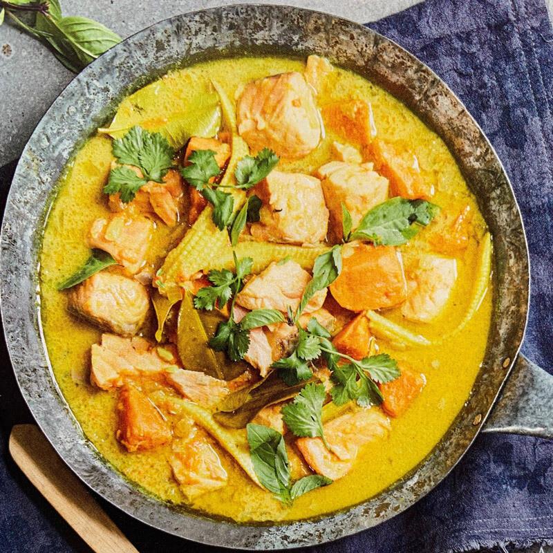 Thai Style Salmon Sweet Potato & Corn Curry