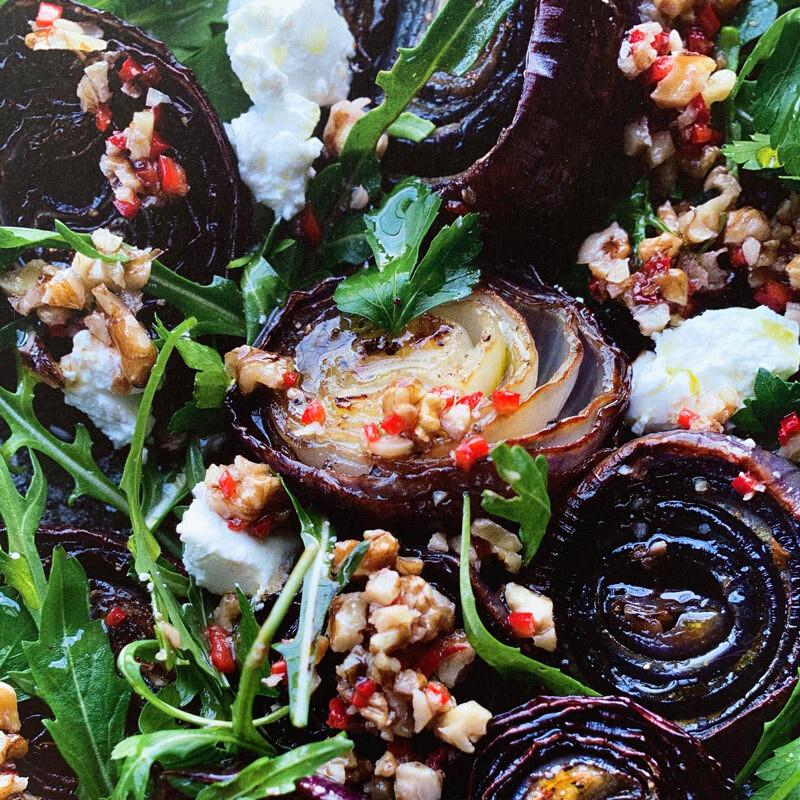 Roasted Red Onions & Walnut Salsa