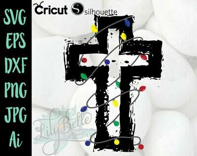 Christmas Light Cross SVG