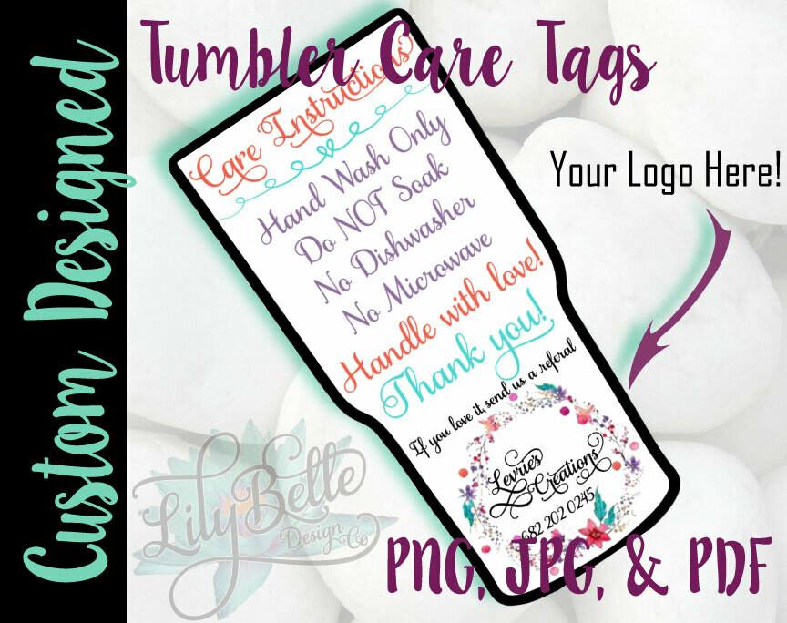 Custom Tumbler Care Cards