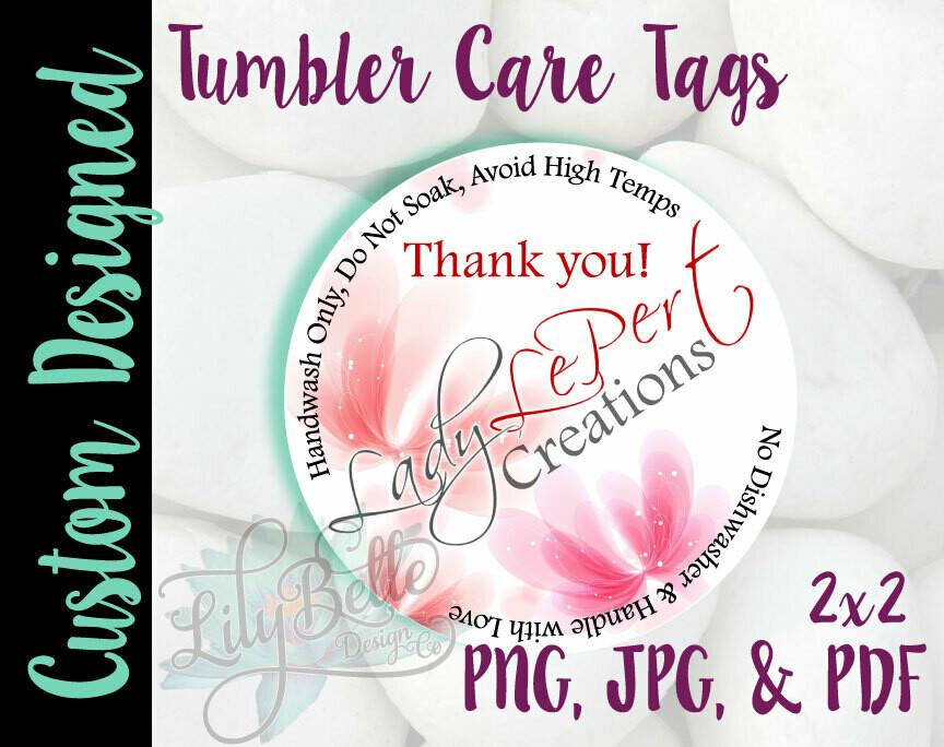 Custom Tumbler Care Tag