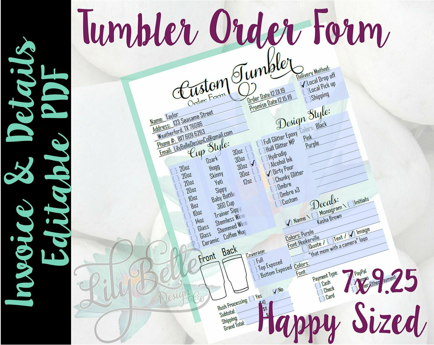 Tumbler Order Form with editable Invoicing sections in PDF Happy Planner Size