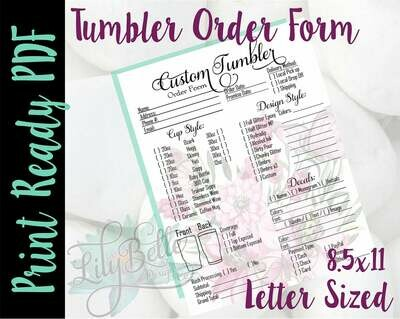 Tumbler Order Form Letter Size Pink Bouquet background in PDF