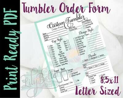 Tumbler Order Form Letter Size Teal Flower in PDF
