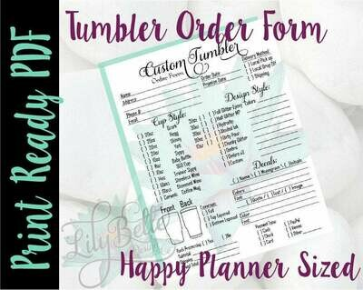 Tumbler Order Form PDF perfectly sized for those Happy Planners!
