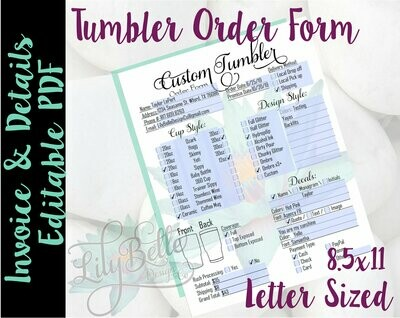 DIY Editable Custom Tumbler Order Form PDF