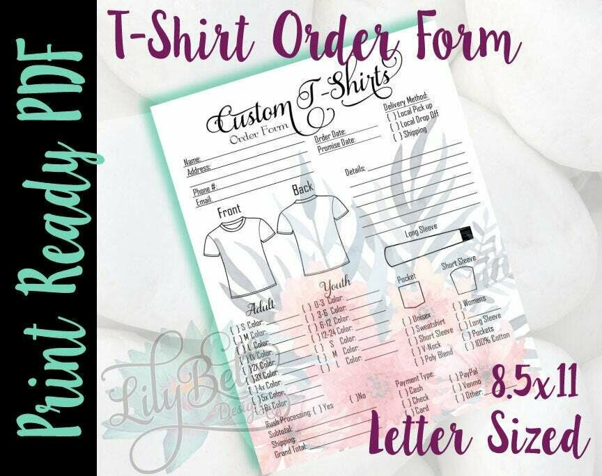 T-Shirt Order Form PDF - Pink Bouquet background