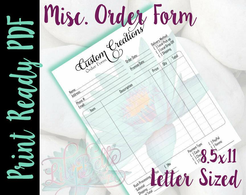 Misc. General Order Form Print Ready Order Form in PDF & JPG