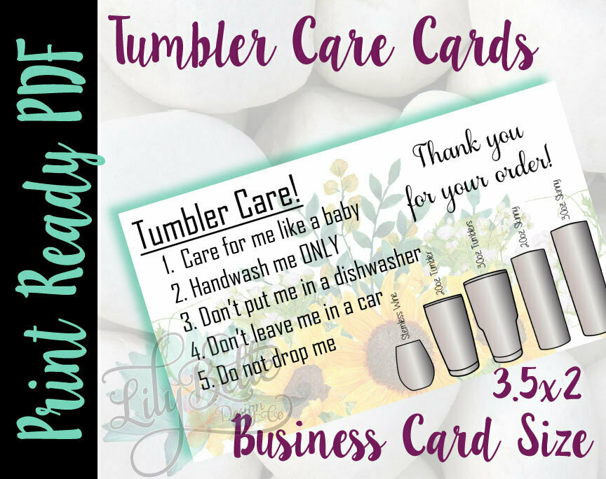 Tumbler Care Business Cards - Yellow Sunflowers Background