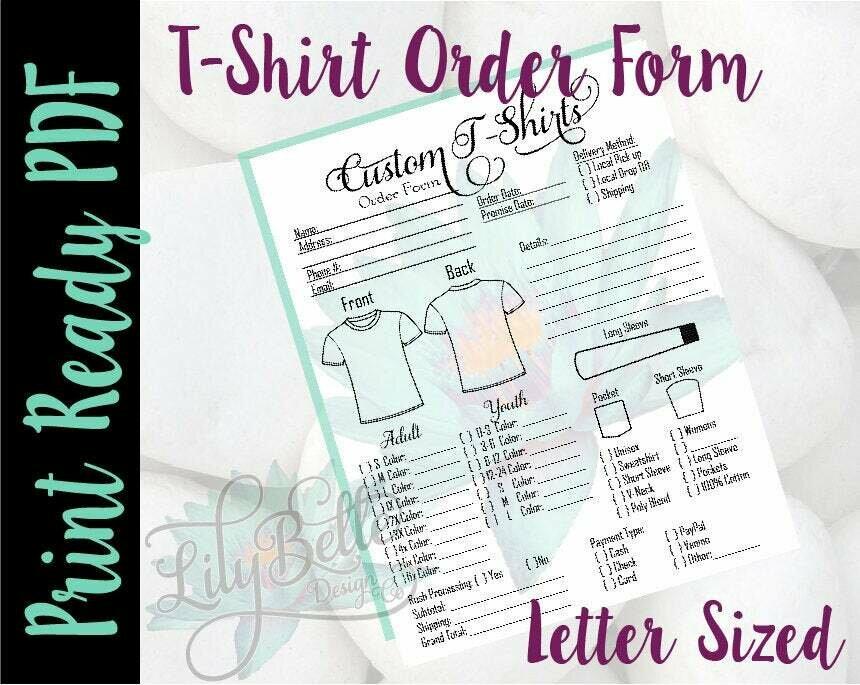 T-Shirt Print Ready Order Form in PDF & JPG Style 1