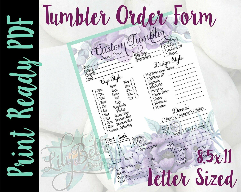 Tumbler Order Form Letter Size Purple Top & Bottom background in PDF