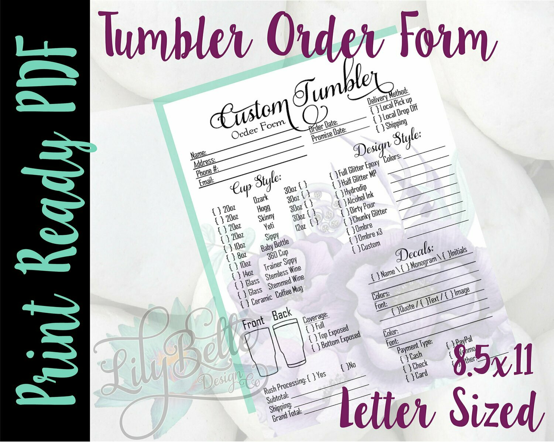 Tumbler Order Form Letter Size Purple Bouquet background in PDF