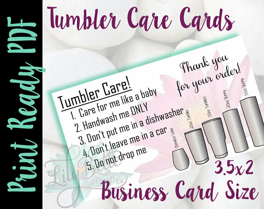 Tumbler Care Business Cards - Pink Waterlily Background