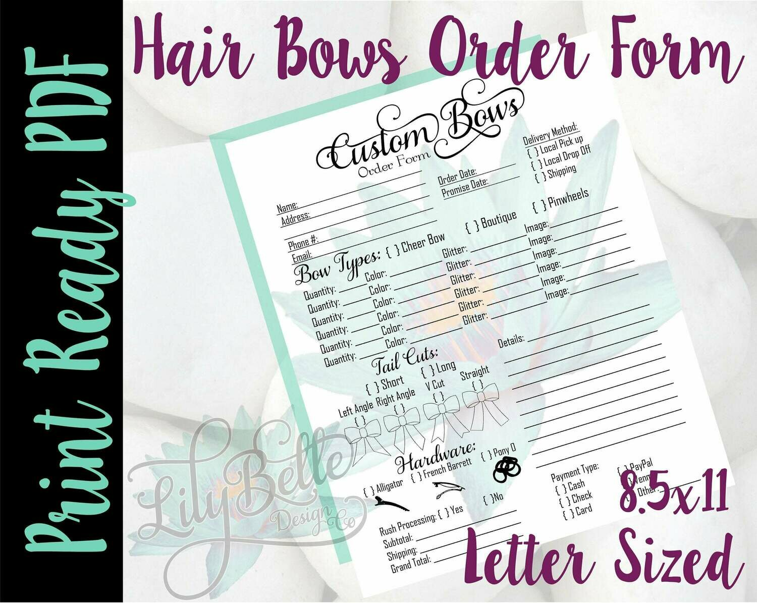 Bows Order Form in Letter Sized in PDf form