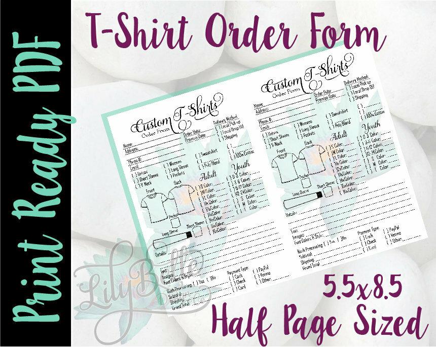 T-Shirt Order Form 2 up Half Letter Sized in PDF & JPG