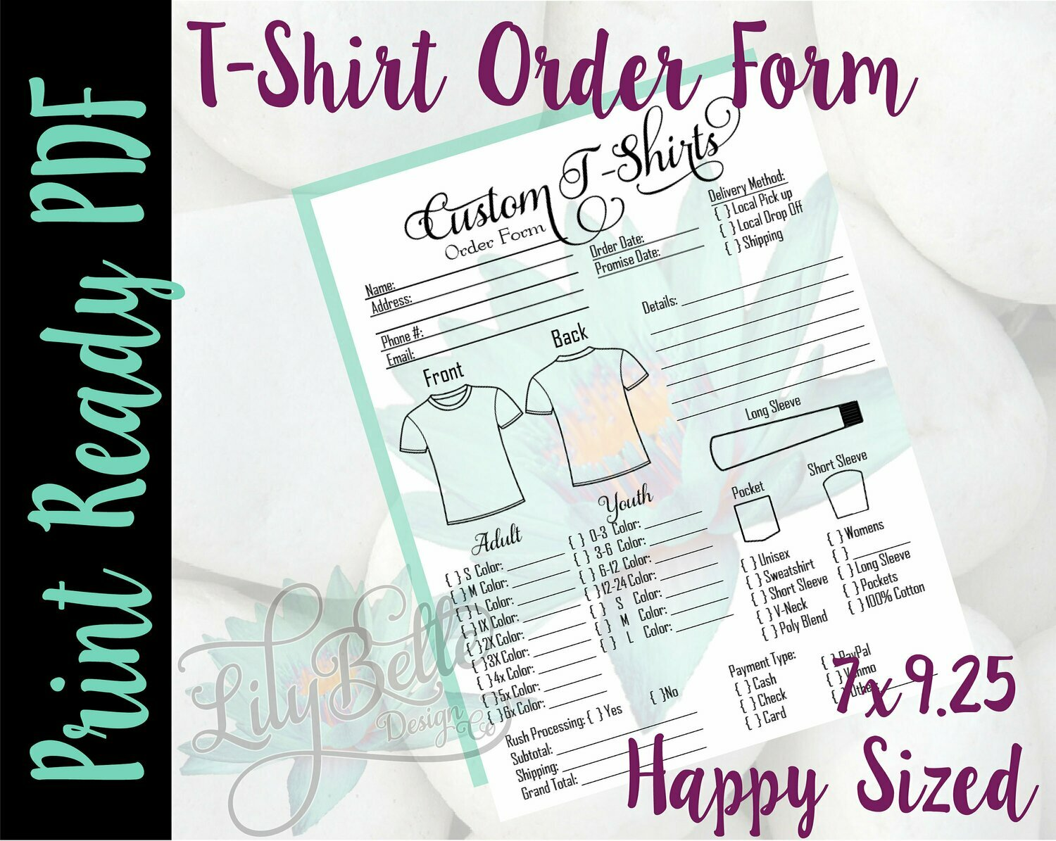 T-Shirt Order Form for Classic Happy Planners in PDF