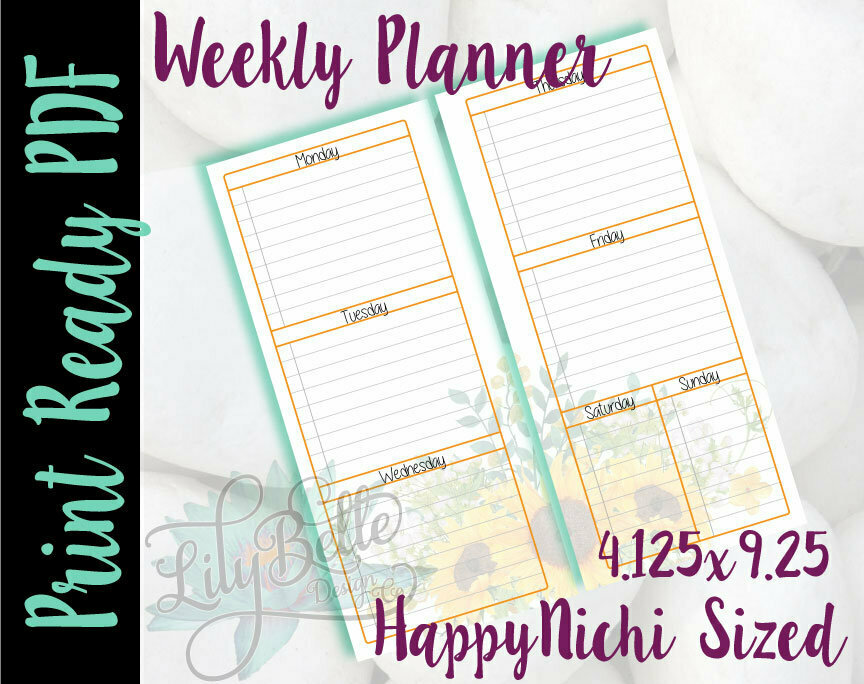 Weekly Planner PDF - Yellow Sunflower Bouquet Background