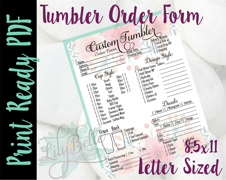 Tumbler Order Form PDF - Pink Top & Bottom Background