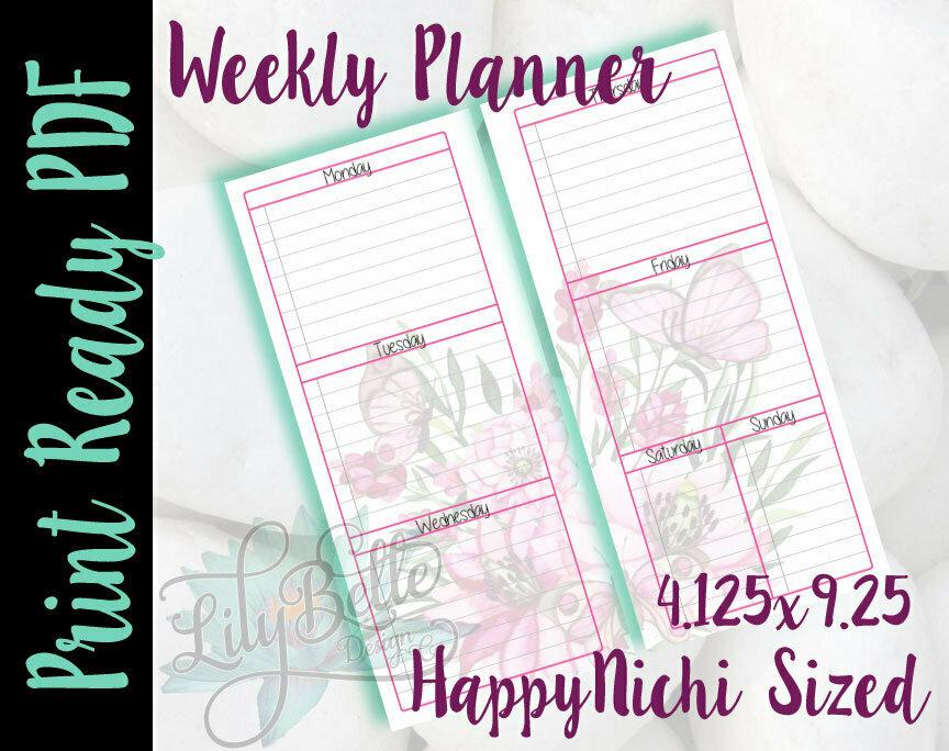 Weekly Planner PDF - Pink Butterflies Background